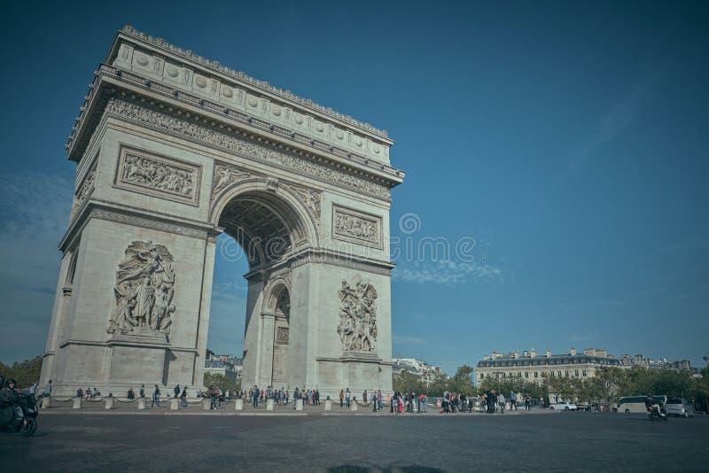 PARIS, FRANCE - OCTOBER 23, 2019 : Arc de Triomphe the parisian monument of the second world war. Arch, architecture, attraction, avenue, capital, carrousel stock photos