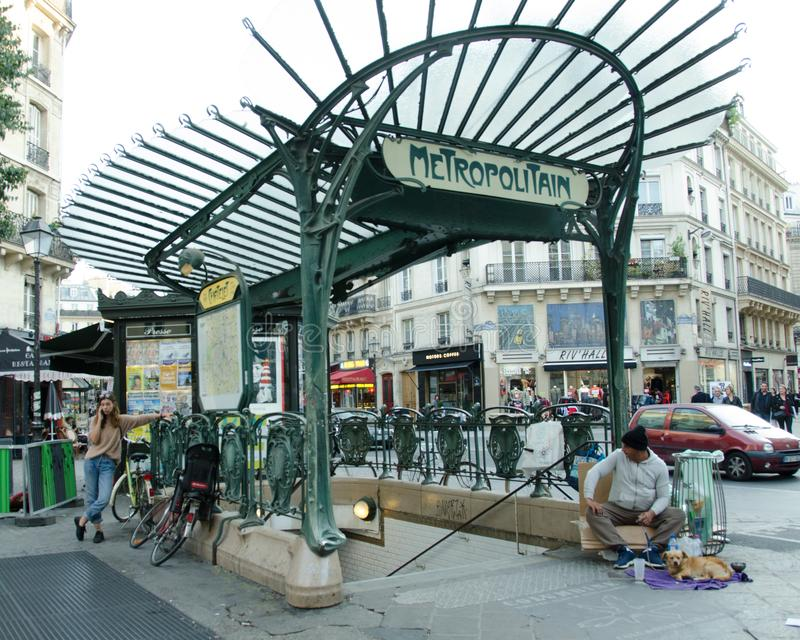 Chatelet is one of the busiest stations of the Paris subway system. PARIS, FRANCE OCTOBER 17, 2018 Chatelet is one of the busiest stations of the Paris subway royalty free stock photo