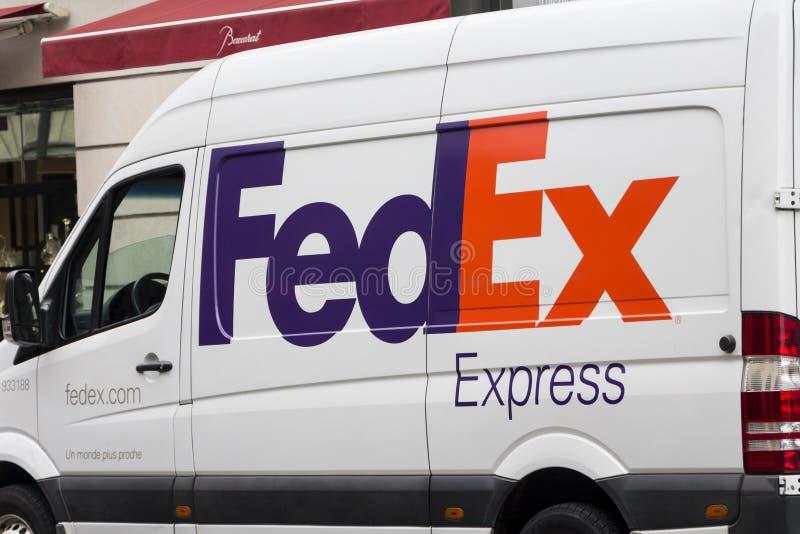 FedEx Federal Express logo on FedEx`s van royalty free stock images