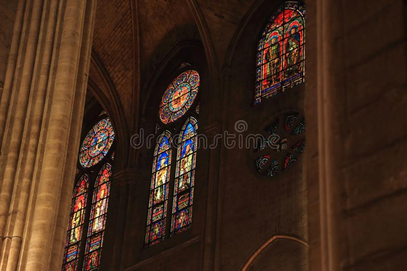 PARIS, FRANCE - OCTOBER 28, 2018 : Interior of one of the oldest Cathedrals in Europe- Notre Dame de Paris. France.  royalty free stock photography