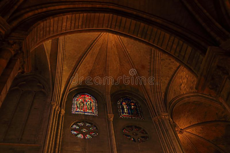 PARIS, FRANCE - OCTOBER 28, 2018 : Interior of one of the oldest Cathedrals in Europe- Notre Dame de Paris. France.  stock photos