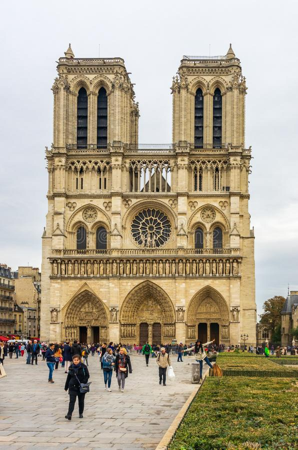 PARIS, FRANCE - OCTOBER 13, 2016: Notre Dame de Paris Cathedral, front view of one of the most popular monuments in Europe stock images