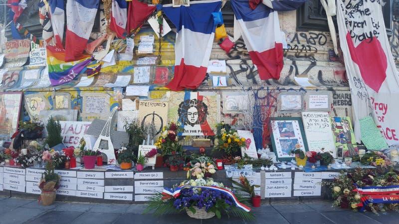 Paris, France. 12.12.2015. Place de la République, after Paris'attacks in november 2015. Candles and messages at the place de la République in Paris stock image