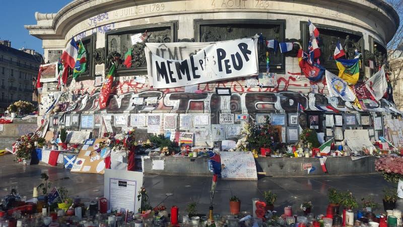 Paris, France. 12.12.2015. Place de la République, after Paris'attacks in november 2015. Candles and messages at the place de la République in Paris stock photos