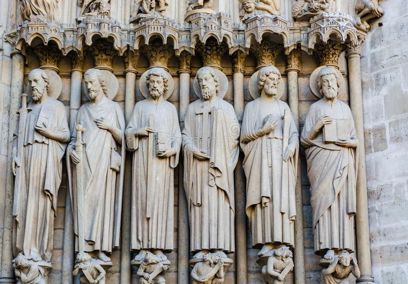Sculptures on the Portal of the Last Judgment on the main western facade of the Cathedral of Notre Dame de Paris stock photography