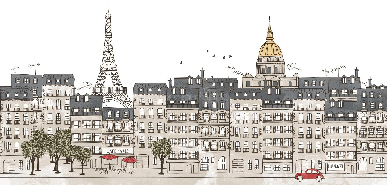 Paris, France - seamless banner of Paris's skyline. Seamless banner of Paris's skyline, hand drawn and digitally colored ink illustration royalty free illustration