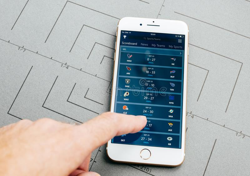 Sports app, on iPhone 7 Plus the application software stock photo