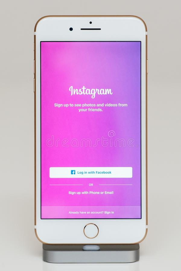 Instagram app on iPhone 7 Plus the application software royalty free stock photos