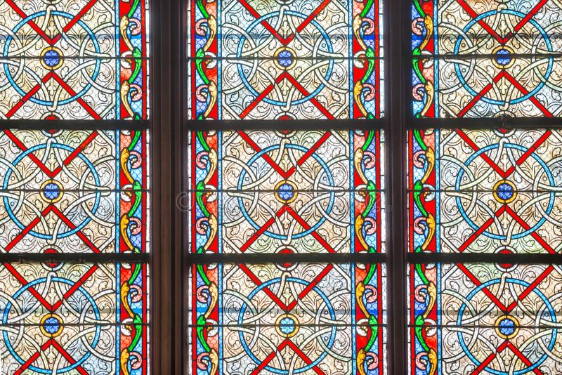 Stained glass windows of Notre-Dame de Paris stock photography