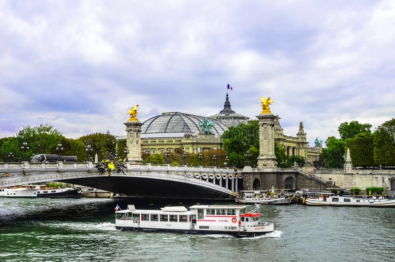 Pleasure boats on the river Seine in Paris. royalty free stock images