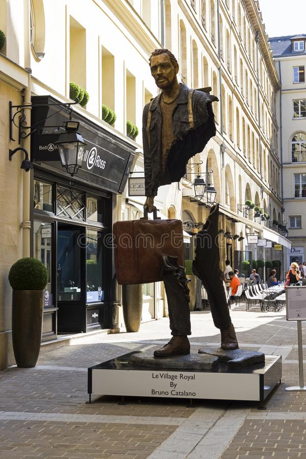 Unusual sculpture in the center of Paris. Paris, France - September 3, 2018: Street exposure of the artworks of Bruno Catalano on the Parisian shopping street Le royalty free stock image