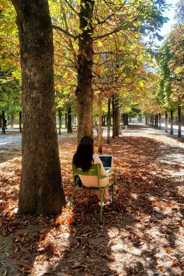 Paris france Sierpień 30th 2016 Kobieta relaksuje z jej komputerem w jawnym ogródzie w Paryż zdjęcie stock