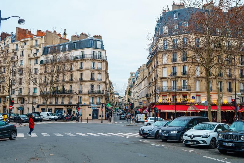 Paris, France - 15.01.2019: Streets of Paris, France. buildings and traffic. Streets of Paris, France. buildings and traffic. Travel stock photos