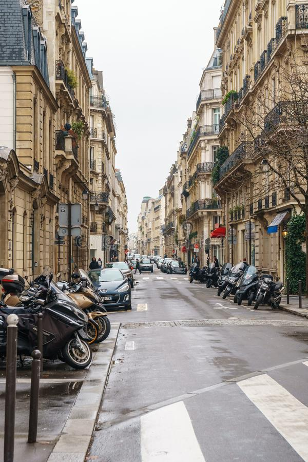 Paris, France - 20.01.2019: Streets of Paris, France. buildings and traffic. Streets of Paris, France. buildings and traffic. Travel royalty free stock photo