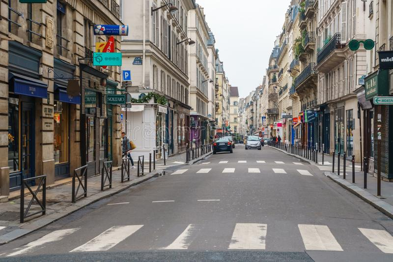 Paris, France - 20.01.2019: Streets of Paris, France. buildings and traffic. Streets of Paris, France. buildings and traffic. Travel royalty free stock photography