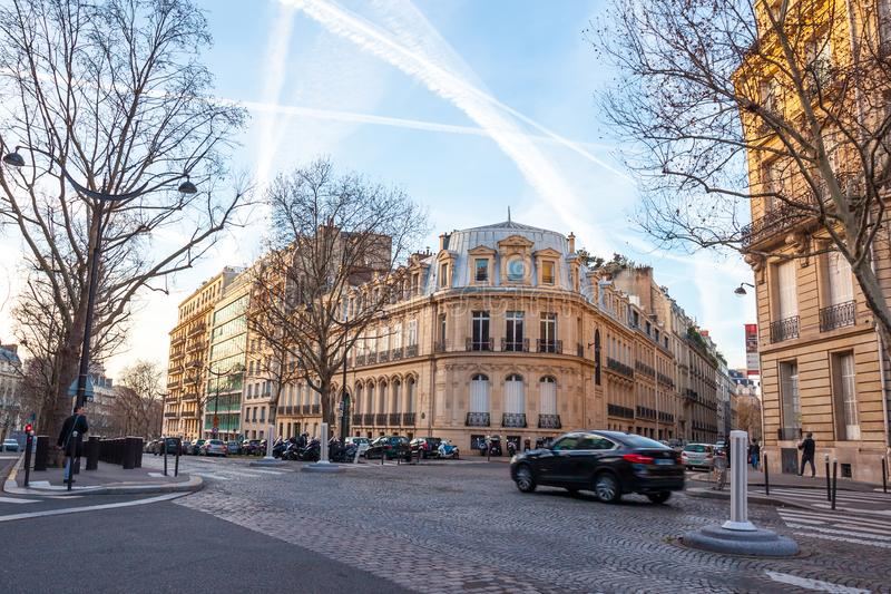 Paris, France - 17.01.2019: Streets of Paris, France. buildings and traffic. Streets of Paris, France. buildings and traffic. Travel stock photos