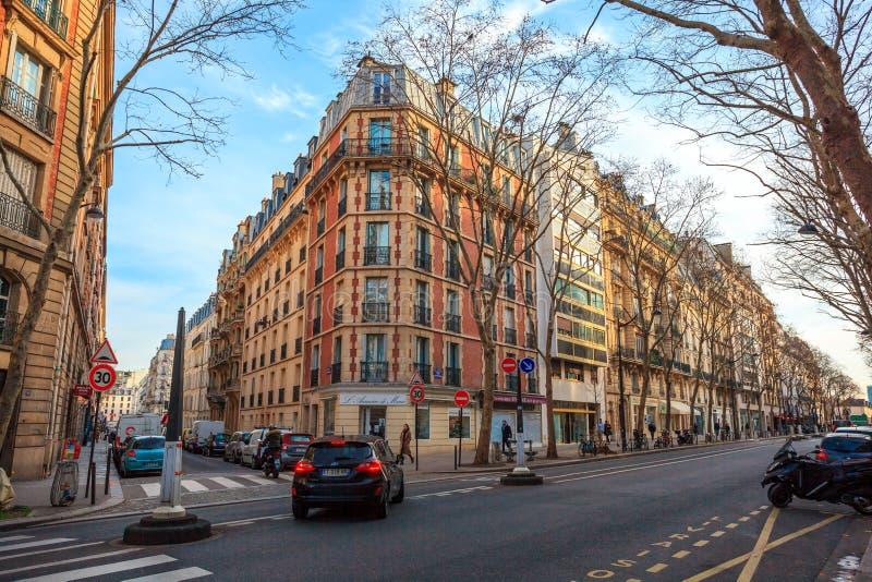 Paris, France - 17.01.2019: Streets of Paris, France. buildings and traffic. Streets of Paris, France. buildings and traffic. Travel royalty free stock photos
