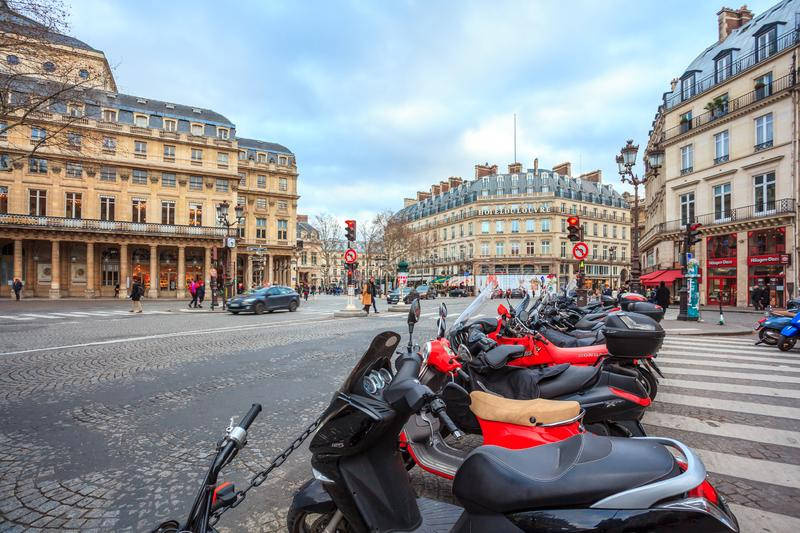 Paris, France - 17.01.2019: Streets of Paris, France. buildings and traffic. Streets of Paris, France. buildings and traffic. Travel royalty free stock image
