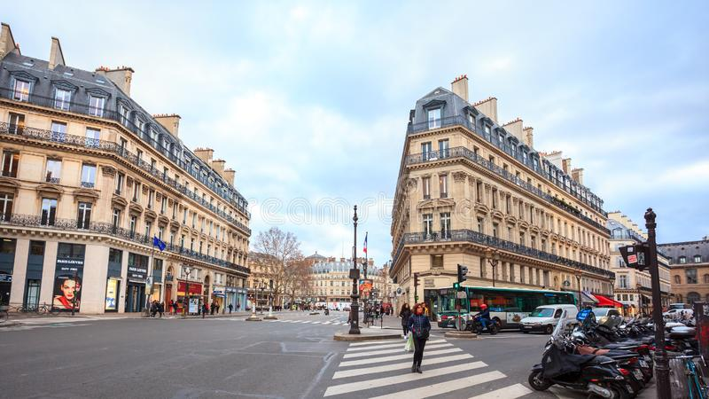 Paris, France - 17.01.2019: Streets of Paris, France. buildings and traffic. Streets of Paris, France. buildings and traffic. Travel royalty free stock images