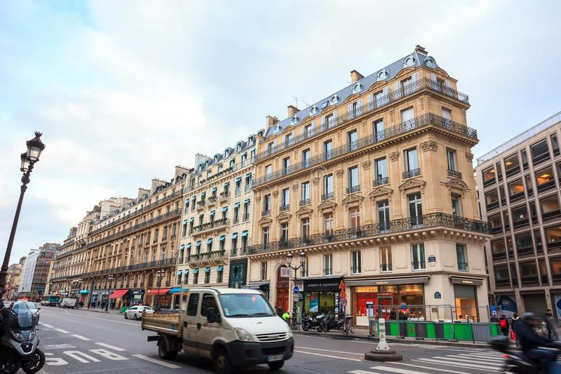 Paris, France - 17.01.2019: Streets of Paris, France. buildings and traffic. Streets of Paris, France. buildings and traffic. Travel royalty free stock photo