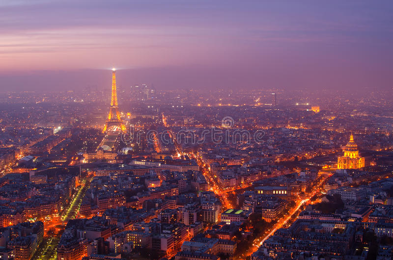 Paris (France) in the sunset stock photography