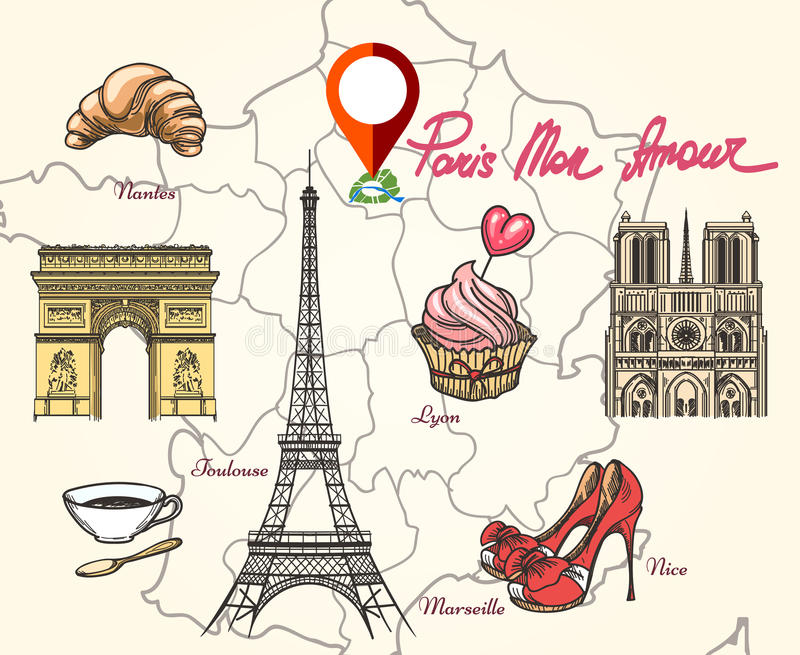 Paris France symbols royalty free illustration