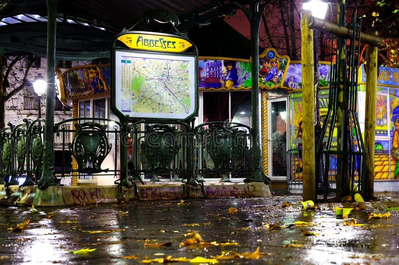 Abbesses Subway station by night in rain. October 12th, 2012. Paris, France. royalty free stock images