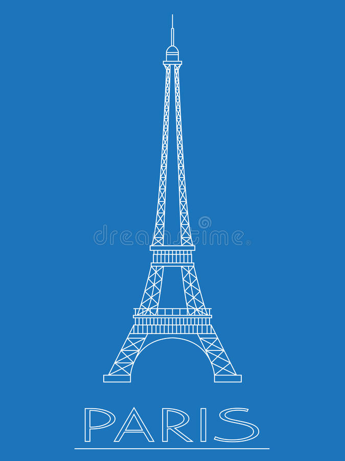 paris france Tour Eiffel Logos et insignes Conception linéaire Illustration de vecteur illustration de vecteur