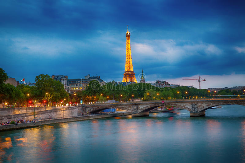Paris, France. View of the Eiffel Tower, over the Seine river