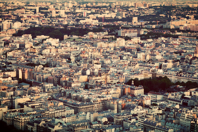 Paris, France view from the top on a residential district. Block of flats. Vintage style royalty free stock photography