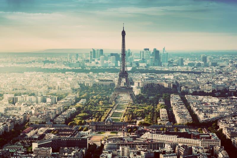 Paris, France vintage skyline, panorama. Eiffel Tower, Champ de Mars. Paris, France vintage skyline, panorama. View on Eiffel Tower, Champ de Mars and La Defense stock photography