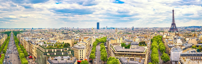 Paris, France Vista panorâmica de Arc de Triomphe Torre Eiffel imagens de stock