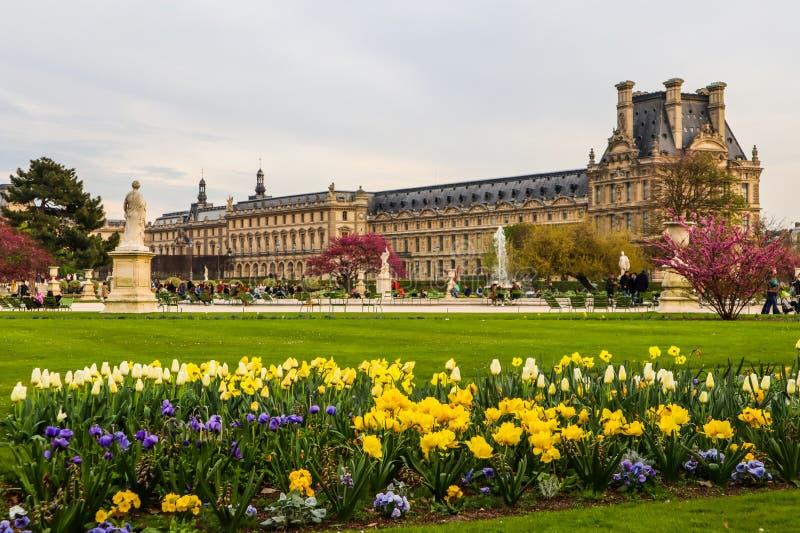 Paris/Frankreich - 5. April 2019: Erstaunlicher Garten und Ansicht Frühling Tuileries am Louvre-Palast in Paris stockbild