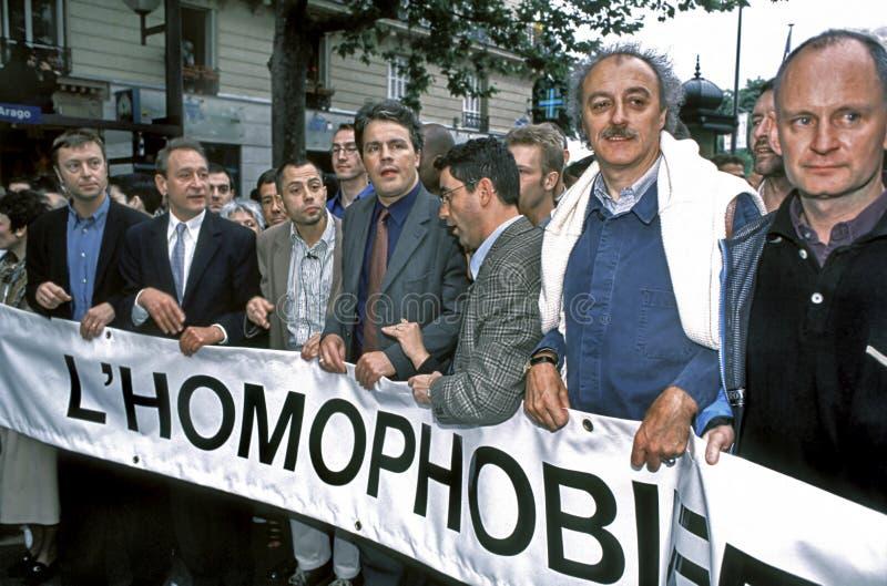 PARIS, Frankreich der homosexuelle Stolz März, französisches Politi lizenzfreie stockbilder