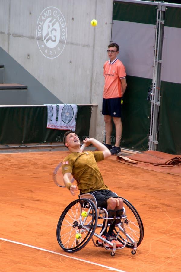 PARIS, FRANKREICH - 8. JUNI 2019: Roland Garros bemannt Rollstuhlschlüsse lizenzfreies stockbild