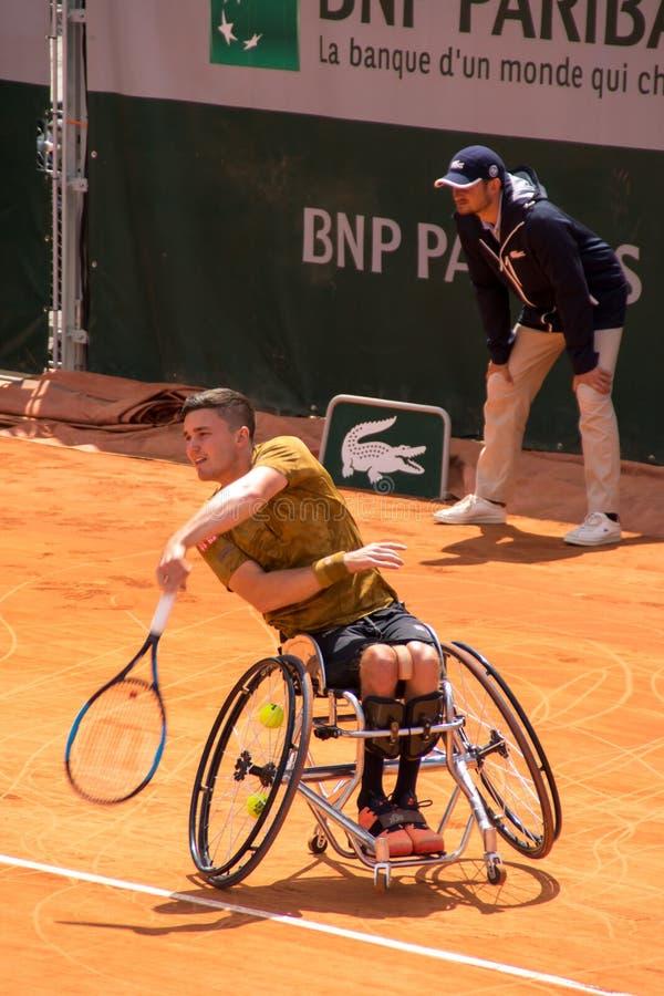 PARIS, FRANKREICH - 8. JUNI 2019: Roland Garros bemannt Rollstuhlschlüsse stockbilder