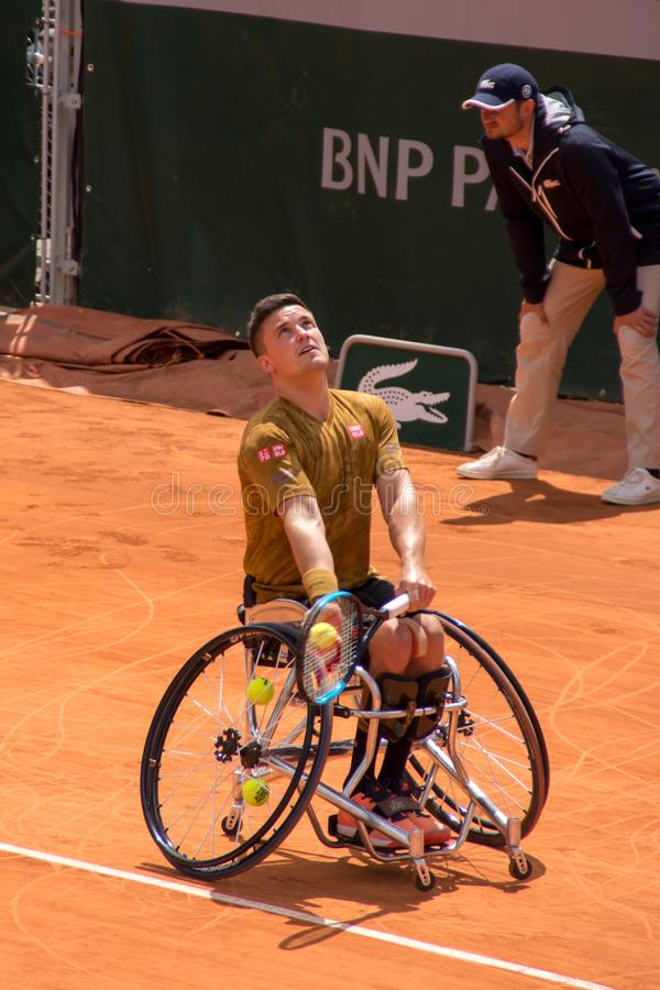 PARIS, FRANKREICH - 8. JUNI 2019: Roland Garros bemannt Rollstuhlschlüsse stockbild