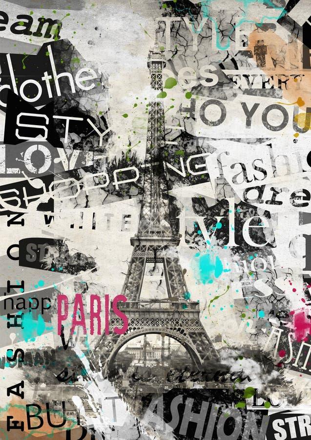 Paris, Frankreich Weinleseillustration mit Eiffelturm lizenzfreie abbildung