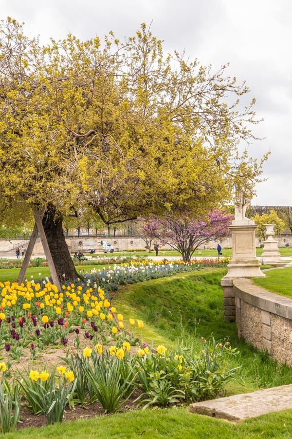 Paris Frankrike - APRIL 9, 2019: Hemtrevlig tr?dg?rd i Paris arkivfoton