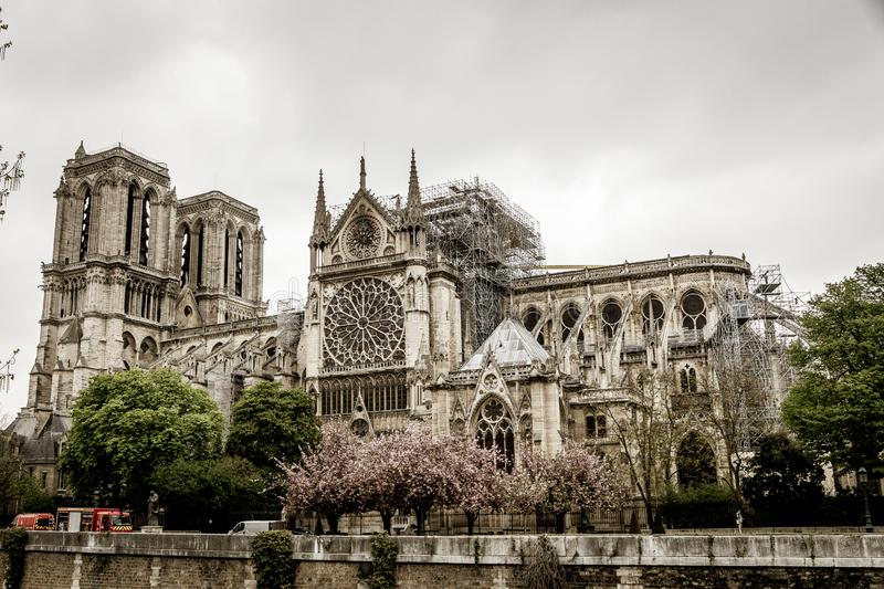 Paris Frankrike - April 16th, 2019: Domkyrka Notre Dame de Paris efter den tragiska branden av April 15th, 2019 arkivbilder