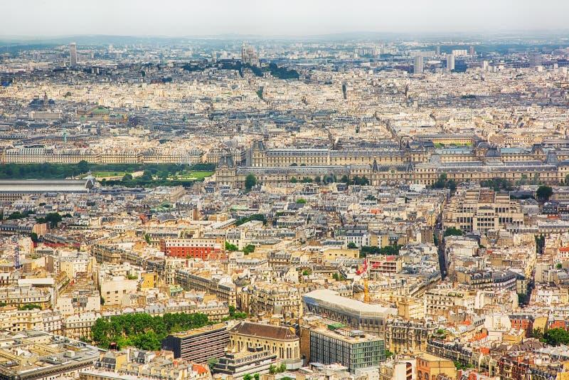 PARIS FRANKRIKE, flyg- sikt för panorama från det Montparnasse tornet arkivfoto