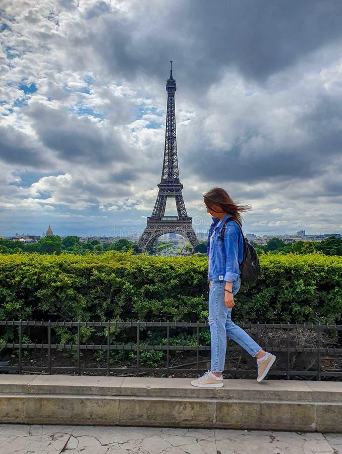 Paris Frankrike, Juni 2019: Eiffeltorn Trocadero sikt arkivbilder