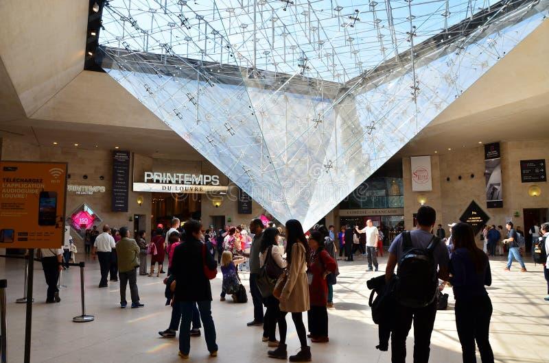 Paris Frankrike - Maj 13, 2015: Turistbesök inom luftventilpyramiden royaltyfri bild