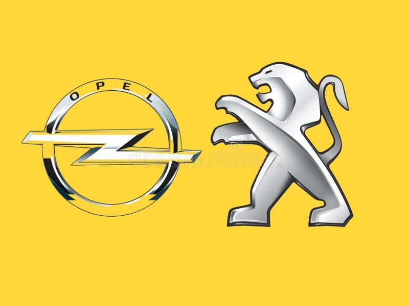 Paris Frankrike - mars 06 2017: Peugeot tar över Opel för 2 2 miljard euro fotografering för bildbyråer