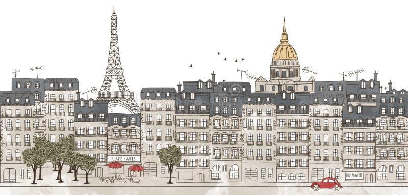 Paris Frankrike - sömlöst baner av Paris horisont royaltyfri illustrationer