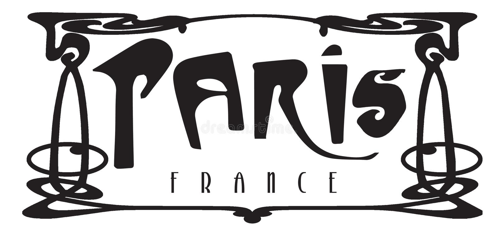 Paris Frankrike tunnelbana Art Deco Logo Sign stock illustrationer