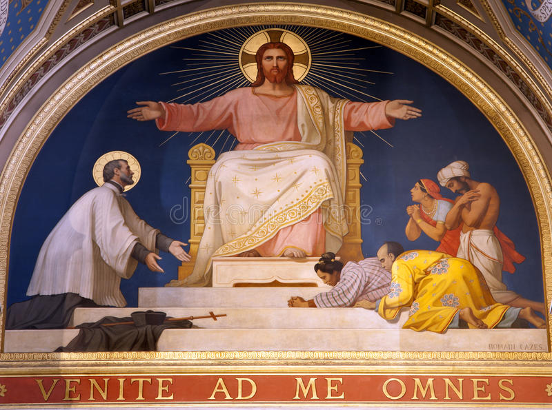 Paris - fresco de Jesus da igreja de Francis Xavier fotos de stock