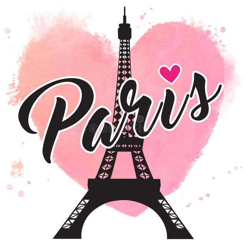 Paris hand drawn vector lettering and Eiffer Tower. Paris ink lettering. royalty free illustration