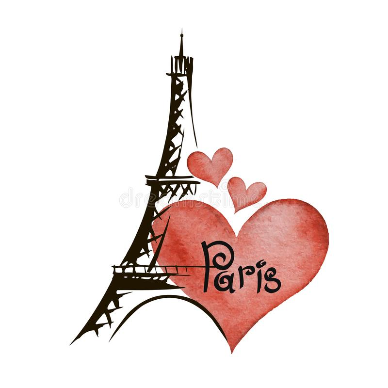 Paris hand drawn vector lettering and Eiffer Tower royalty free illustration