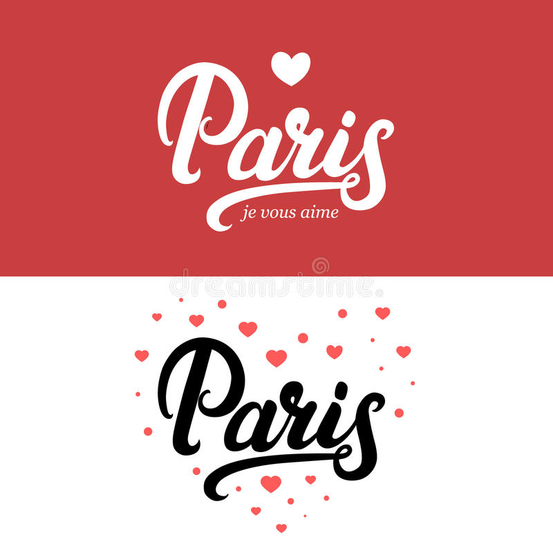 Paris hand written calligraphy lettering. royalty free illustration